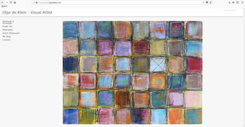 The front page of Olga de Klein's art portfolio website