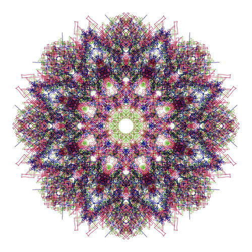 A mandala made up of dense coloured lines