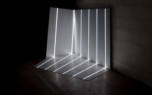 A light-based installation with a geometric form
