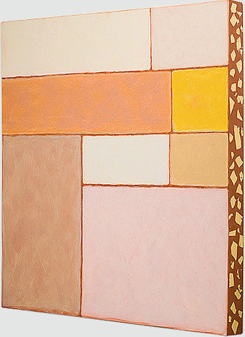 A geometric grid painting with warm pastel tones