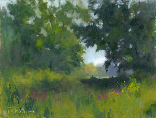 A plein air painting of a green forested area