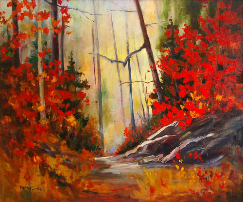 A painting of a forest path with red autumn leaves