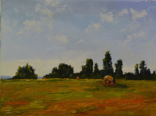 A painting of a hay bale in a green field