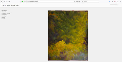A screen capture of Tricia Savoie's art portfolio website