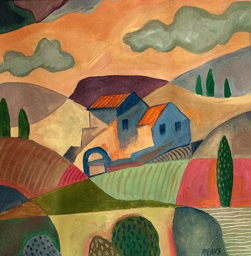 painting of a house in a landscape with a few trees and clouds
