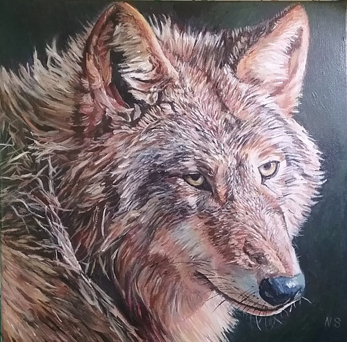 A painting of a red wolf on a dark background