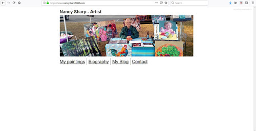 The front page of Nancy Sharp's website portfolio