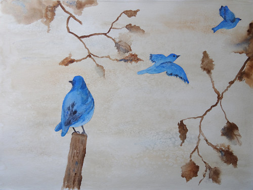 A watercolour painting of bluebirds in flight