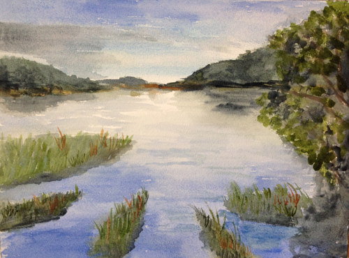 A watercolour painting of still water in a marsh