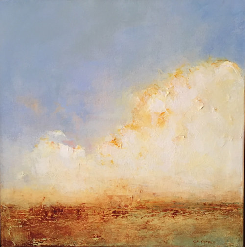 A landscape painting with an emphasis on sky and cloud