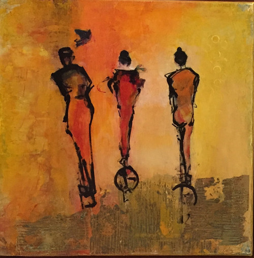 An acrylic painting of three female figures on an orange background