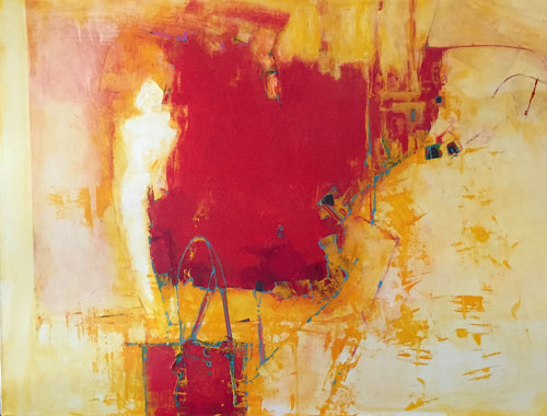 An abstract painting with a large plane of bright red