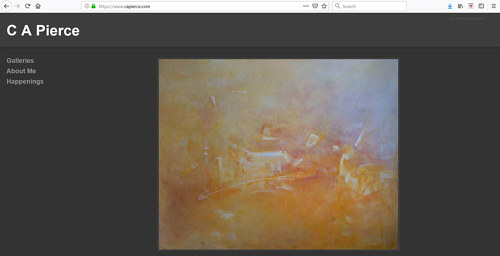 A screen capture of C.A. Pierce's art portfolio website