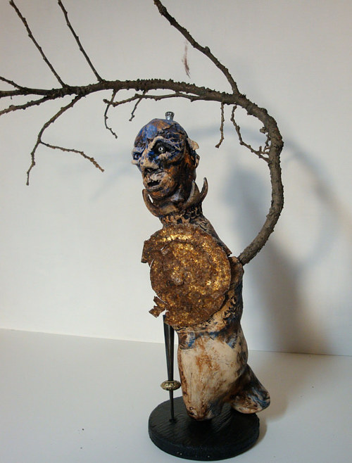 A sculpture made using mixed media and found objects