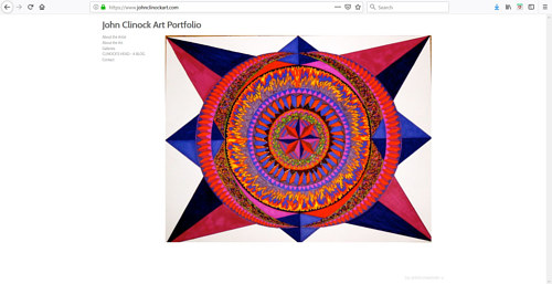 A screen capture of John Clinock's art portfolio website