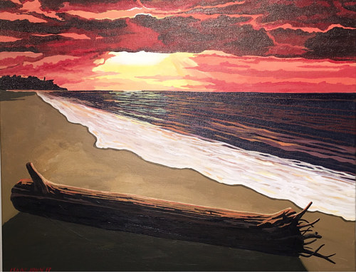 A painting of a piece of driftwood on a beach
