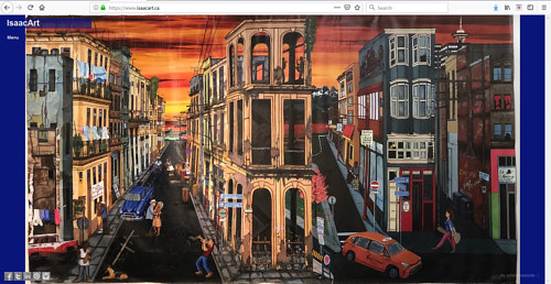 A screen capture of Isaac Lewis' art portfolio website