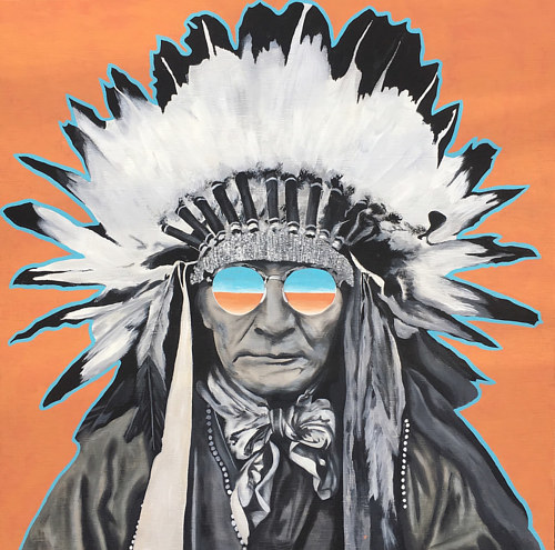 A painting of a Native American man wearing sunglasses