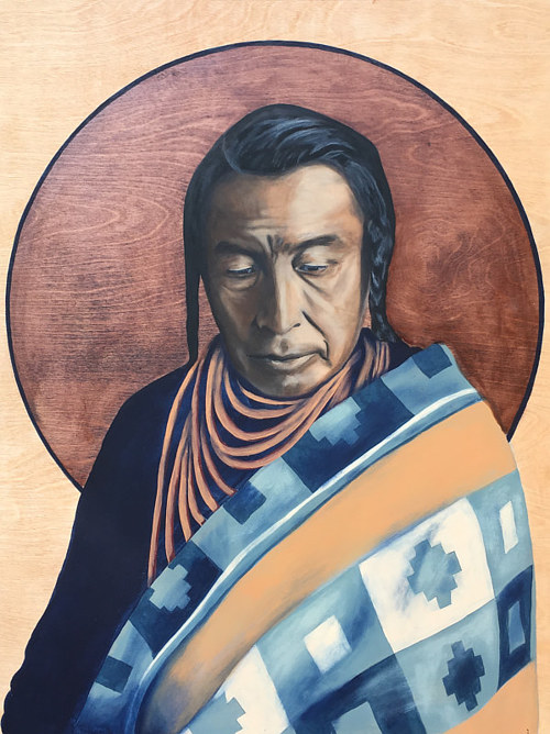 A painting of a Native American person on a coloured background