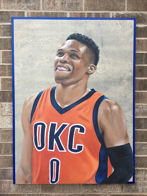 A painting of a smiling basketball player