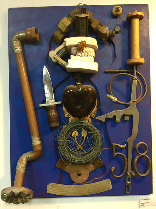 An assemblage artwork made of numerous found objects