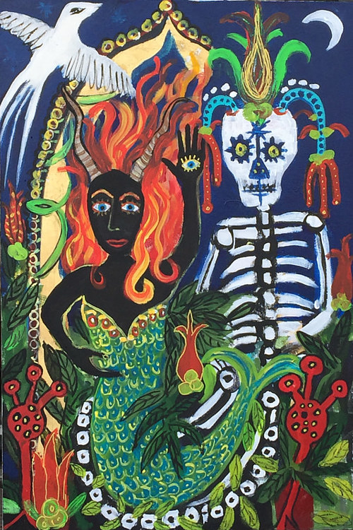 A complex painting of two mythical figures, one a skeleton