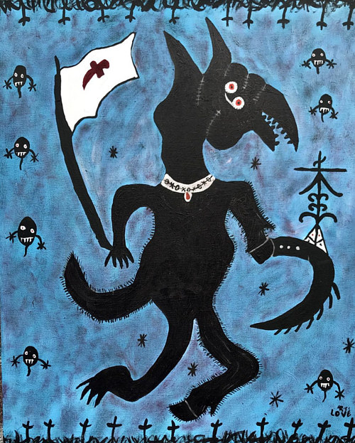 A painting of a warrior spirit silhouetted on a blue background