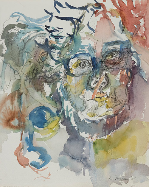 A self-portrait by the late watercolour artist Maureen Dougan