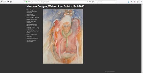 The front page of the portfolio website dedicated to Maureen Dougan