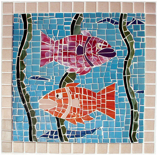 A mosaic artwork depicting two fish
