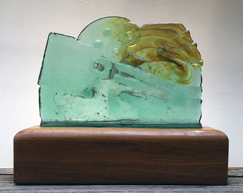 An artwork made of cast glass