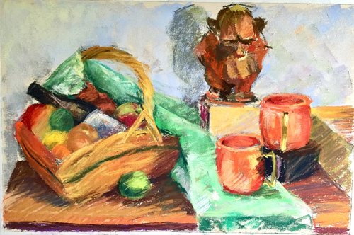 A still-life sketch of items on a table