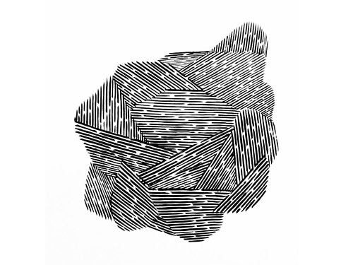 An abstract ink drawing with intersecting black lines