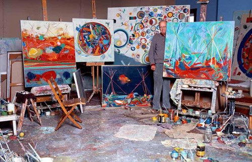 A photo of Robert S. Neuman at work in his studio