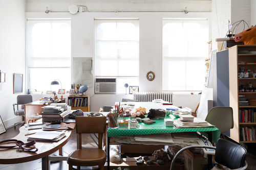 A photo of Joan Jonas' loft studio in SoHo, New York