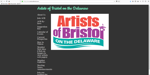 The front page of the Artists of Bristol on the Delaware website