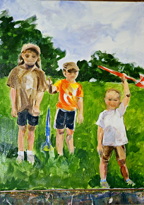 An oil painting of three young children in a park