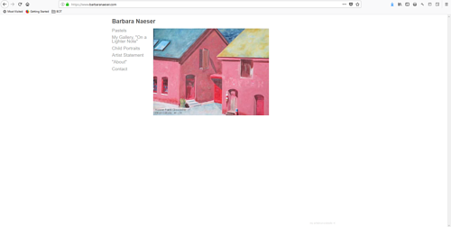 The front page of Barbara Naeser's art portfolio website