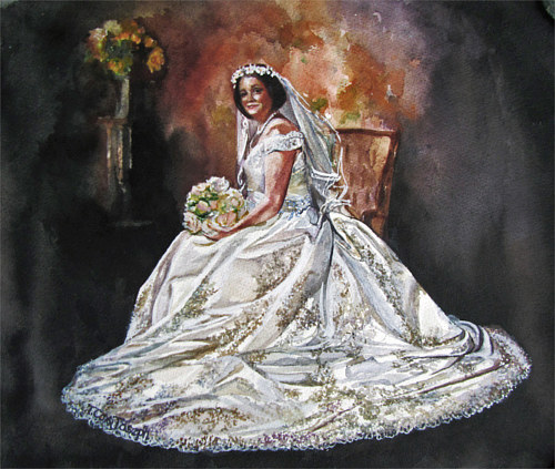 A watercolour painting of a woman in a wedding dress