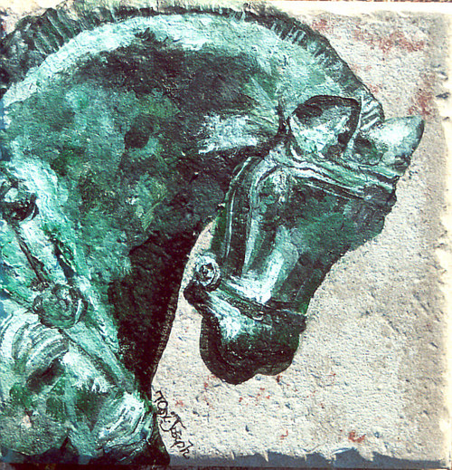 A tile painted with an image of a sculpted horse