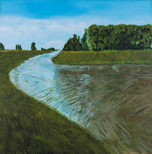 A painting of a curving body of water next to grass