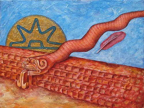 Painting of a red serpent with tongue sticking out and sun setting