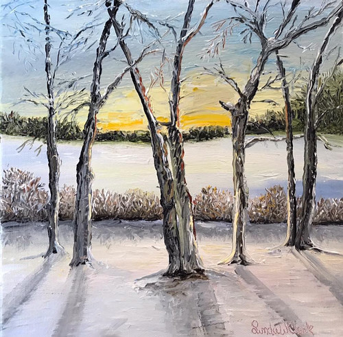 An oil painting of winter birch trees