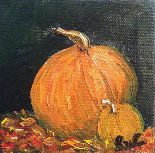 A painting of an orange pumpkin on a black background