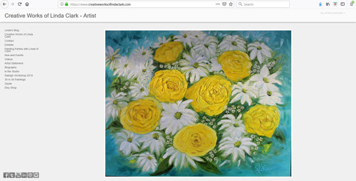 A screen capture of Linda Clark's art portfolio website