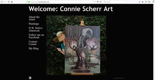 A screen capture of Connie Sher's art portfolio website