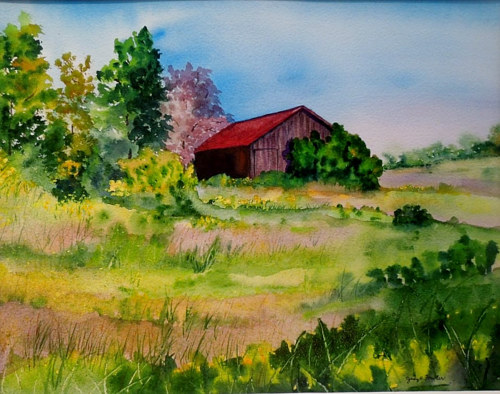 A watercolour painting of a red barn