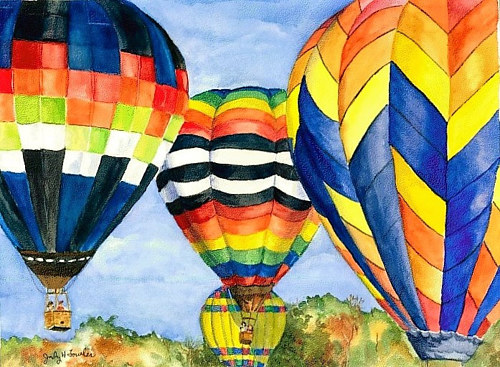 A watercolour painting of hot air balloons