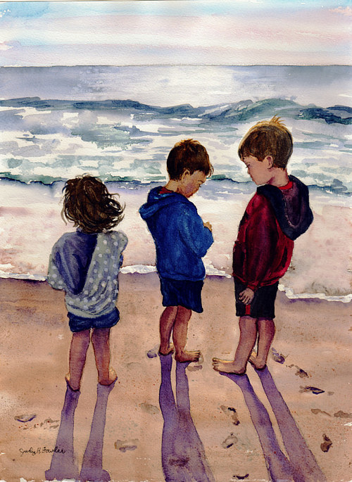 A painting of three children playing at the beach