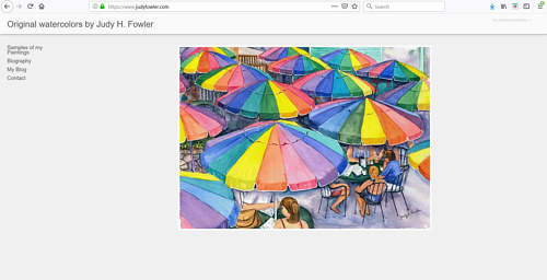 A screen capture of Judy H. Fowler's watercolour art website